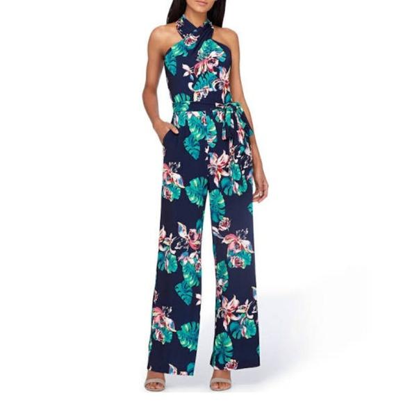 1129784bad9b ⚘Tahari ASL Floral Halter Jersey Jumpsuit